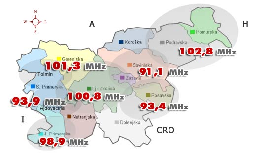 Slovenia for Families - Radio RSi frequency map